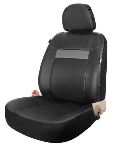 SRT Vinyl One Bucket Front Seat Cover Leather Universal Fits Cars Trucks SUV with Airbag BlackGrey