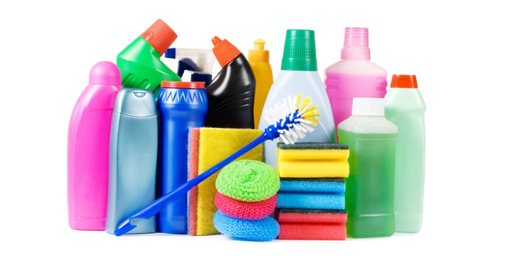 Typical laundry room and kitchen cleaning products